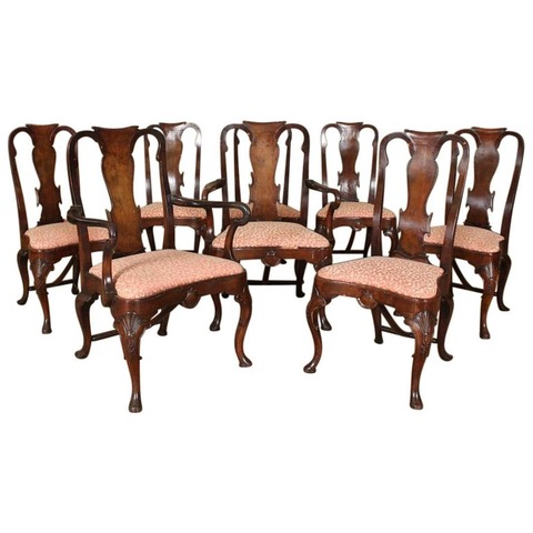 Set of Eight Early 20th Century Walnut George II Dining Chairs
